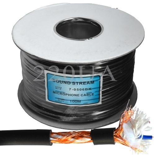 Кабель мікрофонний Sound Stream 2x0.28 мм2 OFC CU чорний 100м