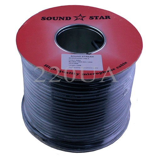 Кабель мікрофонний Sound Star 2x0.28 мм2 CCA чорний 100м