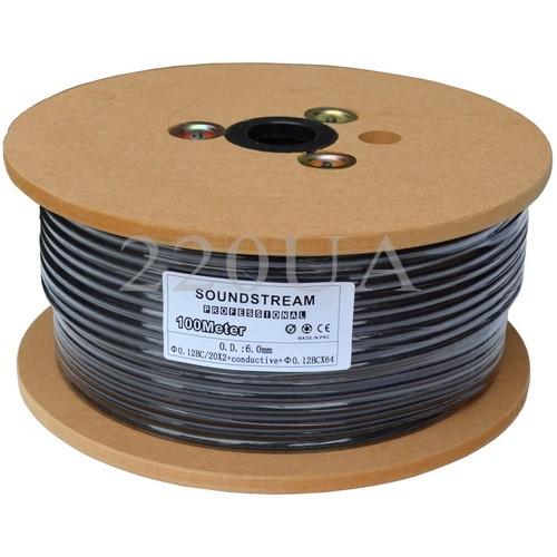 Кабель микрофонный Sound Stream 2x0.22 мм² OFC CU черный 100м