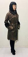 Плащ-пальто женское кожаное с мехом цвет кашемир