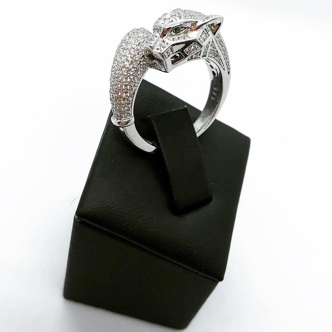 Кольцо из серебра 925 Beauty Bar в стиле картиер модель пантера (17-18,5 размеры)