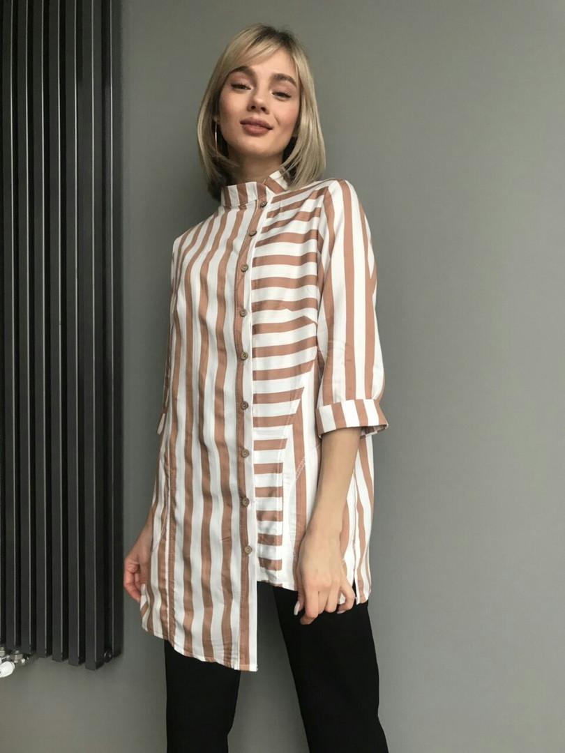 703108d3dd3 Модная женская рубашка в полоску   лен   Украина 23-157  купить ...