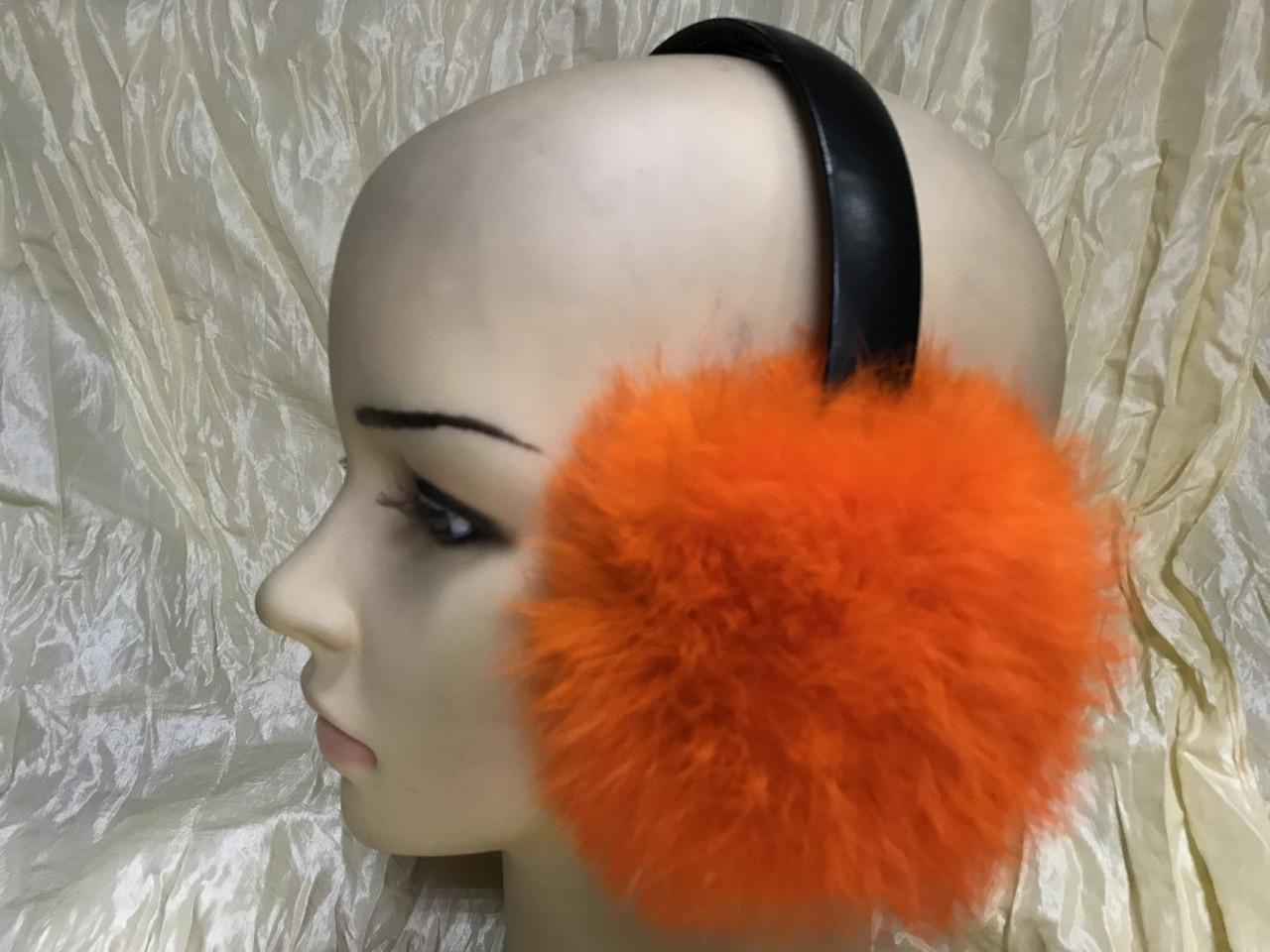 Навушники на широкому обручі з хутра кролика колір помаранчевий