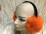 Наушники на широком обруче из меха кролика цвет оранжевый, фото 3