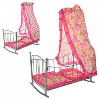 Кроватка 9349  для куклы,желез,качал,47-33-67см ,балдахин, подушка,сп.место 43см, 33,5-47-5,5см