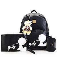Рюкзак женский городской Микки Маус 4 в 1, набор (черный)