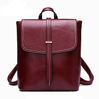 Рюкзак сумка трансформер женский с пряжкой  (красный)