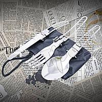Набор туристический №5009: ложка+вилка+нож. Тканевый чехол в комплекте