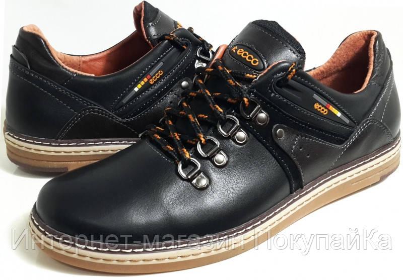 b153a13d6 Мужские Осень-Весна Кожаные туфли в стиле Ecco (model E-5) black ...