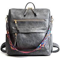 Рюкзак сумка женский городской  с цветной ручкой (серый)