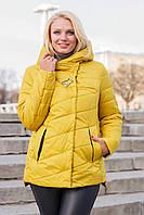 Куртка женская весна осень стеганная с капюшоном большого размера 50-62 горчичная, фото 1