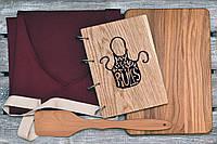 Набор для кухни 11. Фартук. Девевянный блокнот, разделочная доска и лопатка.