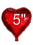 Шар фольгированный сердце красный, 10 см