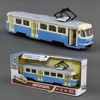 Игрушечный JT трамвай 9708 С функциональный (желтый/синий), открываются/закрываются двери; подсветка, звук, фото 1