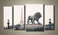 """""""Париж статуя Льва"""" Модульная картина на холсте для интерьера"""