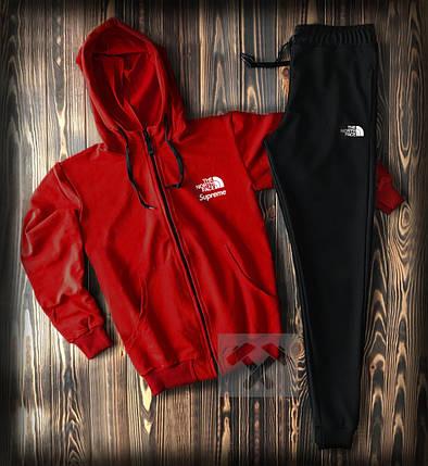 Спортивный костюм красно-черный с капюшоном The North Face топ-реплика, фото 2