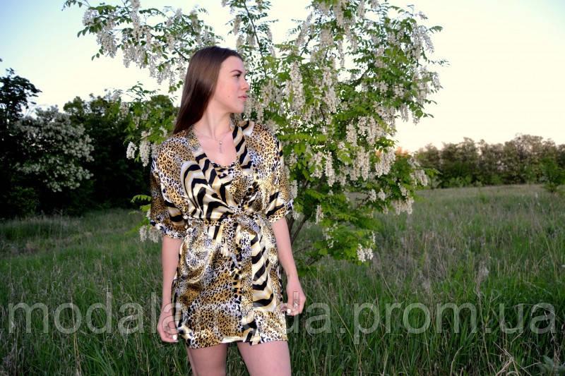 Шелковый комплект с ночной рубашкой
