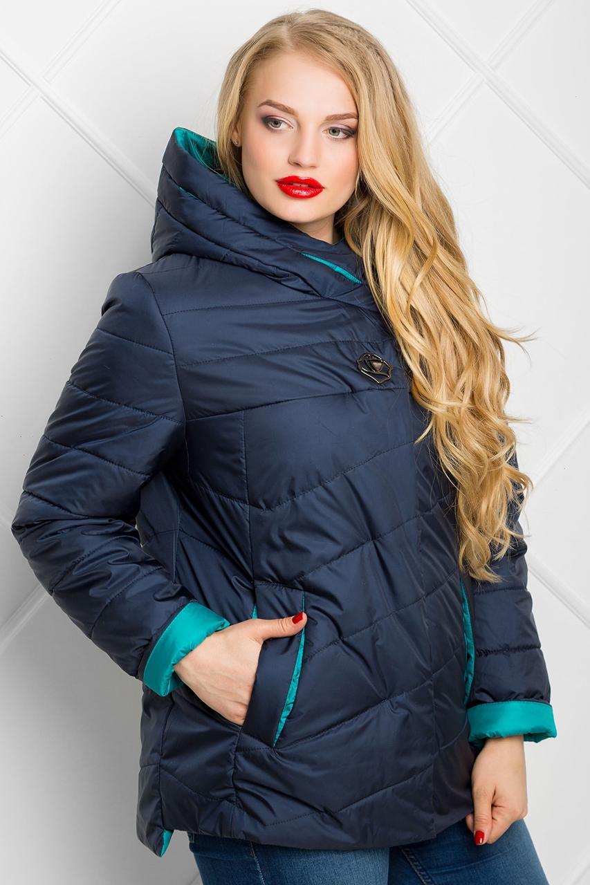 85cf865bb62 Куртка женская весна осень стеганная с капюшоном большого размера 50-62  темно-синяя с мятой