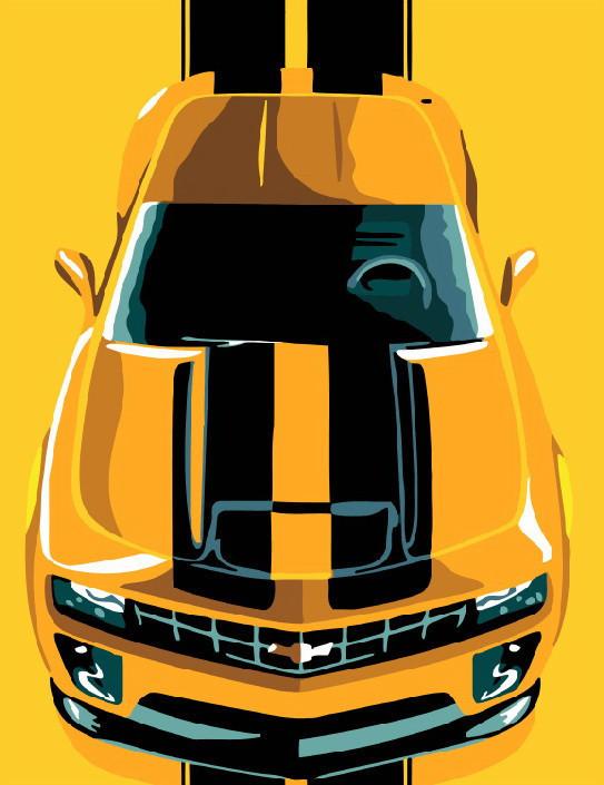 Картина по номерам Желкое авто 40 на 50