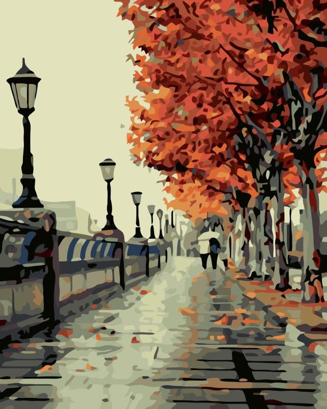 Картина по номерам Осенний сквер 40 х 50