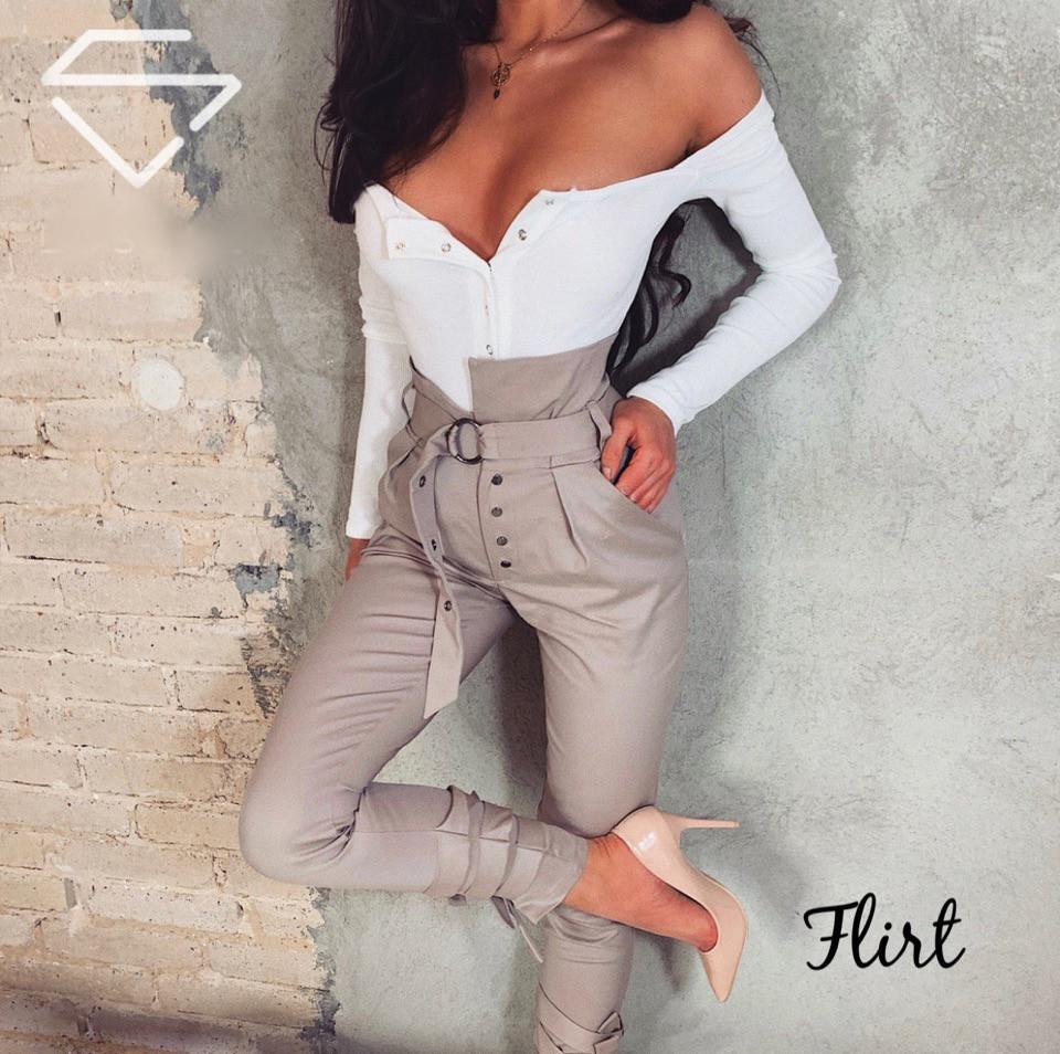 e7f6ebabf072 МБ Обтягивающие женские брюки с высокой посадкой, с поясом и с завязочками