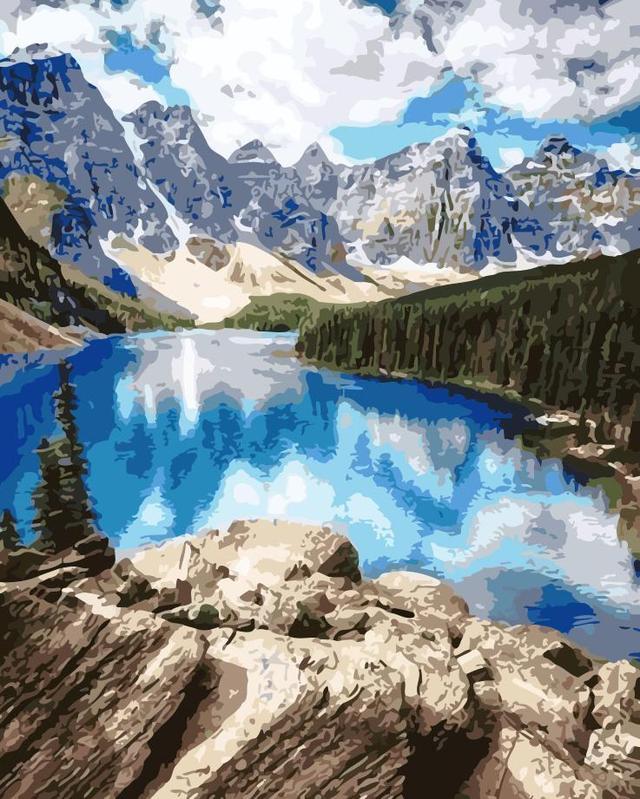 Картина по номерам Горное озеро 40 х 50