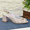 Босоножки женские кожаные перфорированные на невысоком каблуке, фото 2