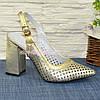 Туфли кожаные перфорированные на устойчивом каблуке, фото 2