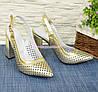 Туфли кожаные перфорированные на устойчивом каблуке, фото 4