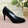 Туфли женские классические замшевые на шпильке! Цвет черный, фото 2
