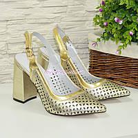 Туфли кожаные перфорированные на устойчивом каблуке