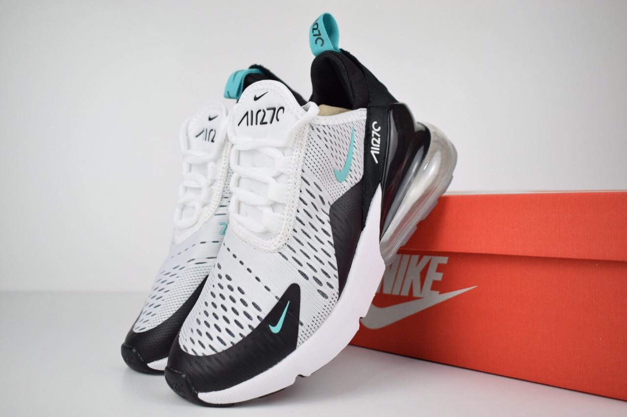 2fa4935a Женские кроссовки Nike Air Max 270 белые с черным/бирюзовый знак ...