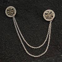 [15/150 мм] Брошь темный металл двойная с оригинальным узором со стразами на цепочке для кардиганов и воротничков