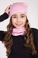 Детский комплект на весну шапка с хомутом
