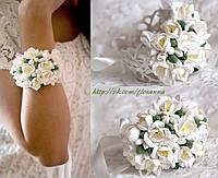 """""""Белые фрезии"""" свадебный браслет из полимерной глины. Браслет для невесты или свидетельницы"""