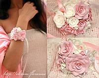 """""""Бело-розовые розы"""" браслет с цветами из полимерной глины"""