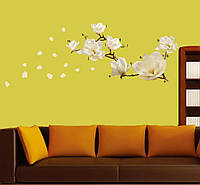 Виниловая наклейка на стену цветок магнолии белый 107*30см