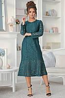 Женское нарядное платье из гипюра, миди