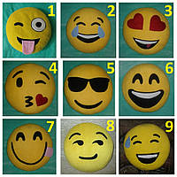 Подушки-смайлики Emoji разных размеров круглые и квадратные