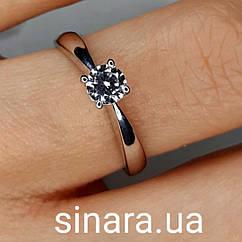 Кольцо из белого золота с одним камнем - Золотое кольцо с фианитом