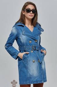 Плащ-тренч джинсовый с поясом ML голубой