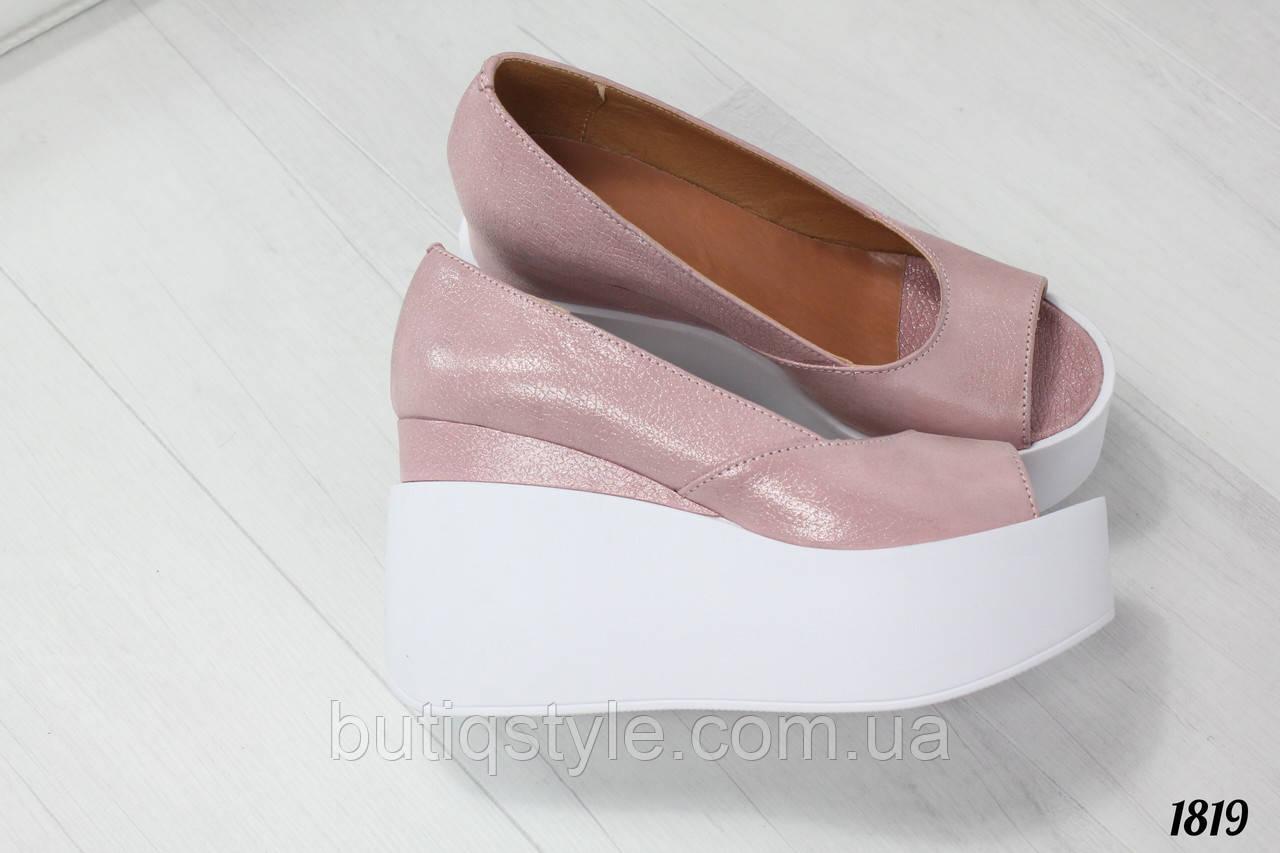 a816ac9d1 Женские туфли пудра на белой платформе натуральная кожа сатин ...