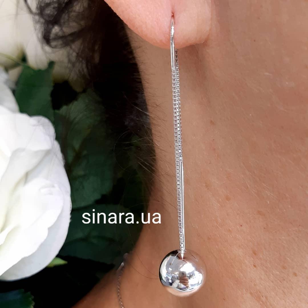 Срібні родированные сережки протяжки Кулі - Сережки мінімалізм срібло 925