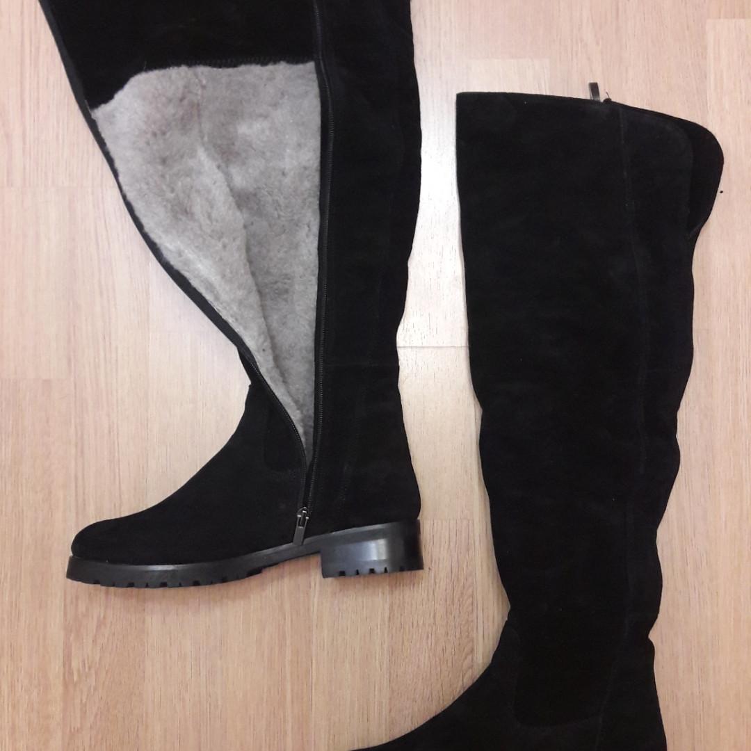 Красивые зимние замшевые ботфорты 37 размер высокие сапоги из натуральной черной замши