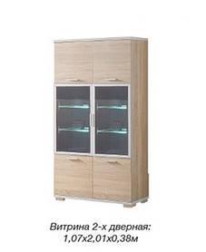 Витрина 2-х дверная Нео с прозрачным стеклом Сонома (Скай ТМ)