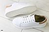 Кроссовки белые из натуральной кожи с пудровыми замшевыми вставками