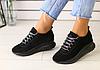 Кроссовки из натуральной замши черные с напылением и серебристой фурнитурой