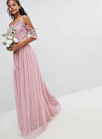 6ca1d87a0b8 Розовое вечернее платье макси с открытыми плечами и оборками
