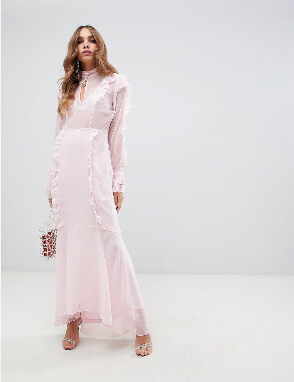 90a03fbbf70 Нежное розовое платье макси с рюшами - Dresses Gallery в Одессе