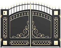 Металлические ворота распашные 6